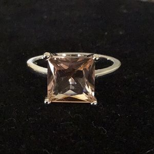 BOLD CLASSY STAMPED 925 SILVER MORGANITE RING